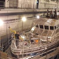 The FPB 23 customs vessel in the Tamsen Maritim shipyard (Photo: Tamsen Maritim)