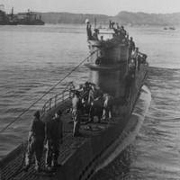 The German U-576 departs Saint-Nazaire, France, on the Atlantic coast, circa 1940-1942. The submarine was sunk in 1942 by aircraft fire after attacking and sinking the Nicaraguan freighter Bluefields and two other ships off North Carolina. (Credit: With permission from Ed Caram)