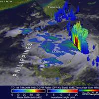 The GPM core observatory satellite passed over on July 16, 2018 at 4:51 a.m. EDT (0851 UTC), GPM's radar (DPR Ku Band) also showed extremely heavy precipitation in the Philippine Sea near the northeastern tip of Luzon where rain was coming down at a rate of greater than 165 mm (6.5 inches) per hour. (Credits: NASA/JAXA, Hal Pierce)