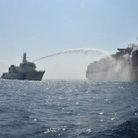 The Indian Coast Guard battles flames aboard the Maersk Honan (File photo: Indian Coast Guard)