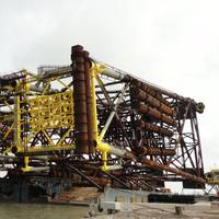 The jacket loaded onboard the Intermac 600 transportation and launch barge, ready for installation at Ayatsil-A. (Copyright McDermott International)
