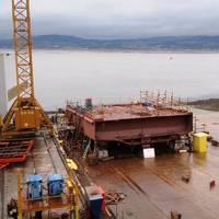 The keel of the third hybrid ferry at Ferguson Marine Engineering (Photo: CMAL)