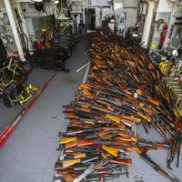The large illicit weapons cache was destined for Somalia Photo by RAN