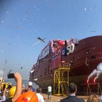 The launch of hull number 50 was celebrated in style with guests from near and far. (Photo: Havyard)