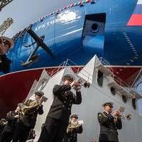 The launching ceremony for nuclear icebreaker Arktika took place at the Baltijskiy Zavod in St Petersburg (Photo: Rosatom)