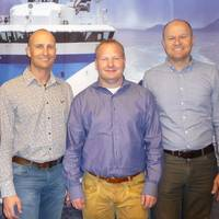 The management team in Ulstein Design & Solutions BV, from left Nick Wessels (Marketing & Sales Manager), Edwin van Leeuwen (Managing Director), Bram Lambregts (Deputy Managing Director), and Alwin Hendriks (Finance Manager
