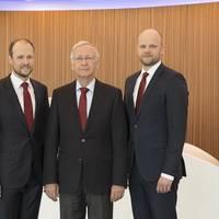 The Meyer Group leadership (from left): Thomas Weigend, Jan Meyer, Bernard Meyer and Tim Meyer. (Photo: Meyer Werft)