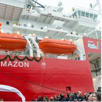 The moment the Ceona Amazon was christened