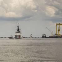 The National Security Cutter James (WMSL 754) sails away from Ingalls Shipbuilding. (Photo: Lance Davis/HII)