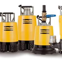 The new Atlas Copco WEDA small range pumps include: (left to right) WEDA04 and WEDA08 drainage pumps, WEDA04B residual pump and WEDA08S sludge pump