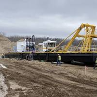 The new electric powered Cutter Suction Dredge being assembled at Legacy Materials in Booneville, Iowa (Photo: CDW)