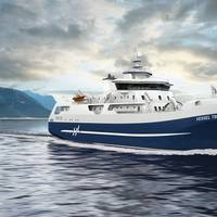 The new salmon processing and transportation vessel for Hav Line AS, Norway, is the world's first vessel of its kind with a hybrid/battery solution. (Photo: Wärtsilä)