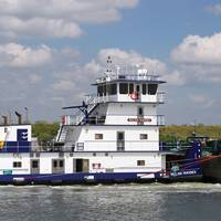 The Nolan Rhodes, from the John Bludworth yard, on the job for Enterprise Marine Services near Channelview Texas.