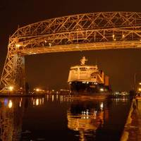 The Palmerton departing beneath Duluth's Aerial Bridge on Dec. 20.  Photo Credit:  Paul Scinocca