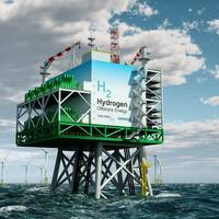 "The platform model from Tractebel contains a complete plant for the industrial production of CO2-neutral ""green"" hydrogen from offshore wind energy. Image: Tractebel"