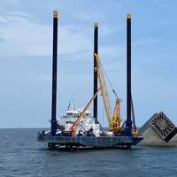 The Seacor Eagle is staged with gear near the Seacor Power off Port Fourchon, La. The vessel is being used as stable platform to assist in salvage and pollution response operations. (Photo: Brendan Freeman / U.S. Coast Guard)