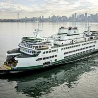 The second Olympic class ferry, M/V Samish, undergoing sea trials in April 2015. (Photo: WSF)