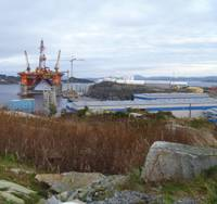 The semi-submersible Songa Delta rig at Coast Centre Base, near Bergen, Norway, for regular 5-year maintenance in November 2011.