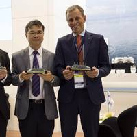 The signing at the DNV GL booth at Nor-Shipping: (left to right) Esko Mustamaki, CEO from Arctech; Peace Boat director and founder Yoshioka Tatsuya; and Jon Rysst, Regional Manager North Europe, DNV GL – Maritime (Photo: DNV GL)