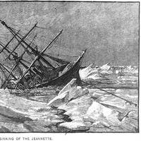 """""""The Sinking of the Jeannette,"""" Engraving by George T. Andrew after a design by M.J. Burns. (U.S. Naval Historical Center Photograph.)"""