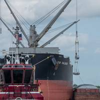 The SK Shipping Star Challenger discharging steel coils to barge at Coastal Cargo breakbulk and heavy-lift terminal at the Louisiana Ave. Complex. (Photo: Port NOLA:)