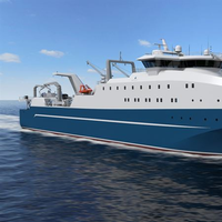 The specially designed unique bow design of the trawler enhances efficiency. The 121 meters long factory trawler will also be capable of processing fish from other vessels. (Image: Wärtsilä)