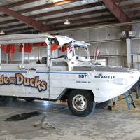 The Stretch Duck 7, a modified WWII DUKW amphibious passenger vessel, shown in this July 25, 2018, photo after it was recovered from Table Rock Lake near Branson, Mo. The vessel sank during a storm July 19, 2018. (NTSB Photo by Brian Young)