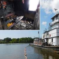 The Susan Lynn at its berth following the fire. Inset: crew quarters on board the Susan Lynn. (Photo: Louisiana Office of State Fire Marshal via NTSB)