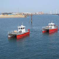 The two new Wave Skimmer class boats undergoing trials at Blyth