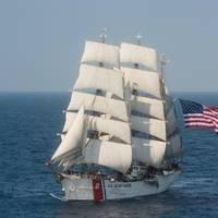 The U.S. Coast Guard barque Eagle sails in the Atlantic Ocean on Thursday, July 30, 2015. (U.S. Coast Guard photo by Auxiliarist David Lau, Public Domain)