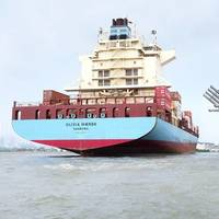 The vessels Monte Olivia (left) and Olivia Mærsk (right) in the Port of Cartagena, Colombia. Photo: Maersk Line
