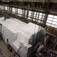 The Virginia-class submarine New Jersey (SSN 796) reached pressure hull complete in February 2021. The construction milestone signifies that all of the submarine's hull sections have been joined to form a single, watertight unit. The boat is currently 72% complete. (Photo: Matt Hildreth / HII)