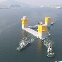 Towing the three-column semi-sub at Nagasaki port