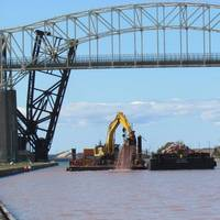Trade West Construction continues the deepening of the Upstream Channel for the New Lock at the Soo in Sault Ste. Marie, Michigan. Deepening is the first phase of the new lock project and will be completed in the fall 2021. (Photo: Michelle Briggs)