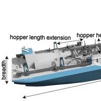 Trailer suction hopper dredger with decision variables annotated. Image: C-Job