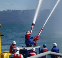 T&T Bisso team delivering 6000 gpm during offshore firefighting deployment exercise.