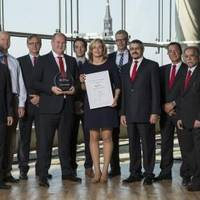 Matthias Ritters, Regional Manager Maritime Region Germany at DNV GL, Roger Iliffe, CEO and Managing Director; Alex Karakassis, CFO, James Cook, Head of QHSE; Max Harmstorf, Head of EMEA,  Nadine Dreier, QHSE Auditor, all HANSA HEAVY LIFT, Dirk Lange, Key Account Manager at DNV GL; Steve Dawson, Director of Ship Management, Claus Tantzen, Deputy Director of Ship Management,  Ayjaz Sheikh, Quality Assurance Manager, Asia, all HANSA HEAVY LIFT.