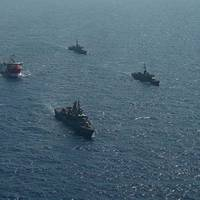 Turkish Navy vessels escorting the Oruc Reis seismic vessel - Credit: Turkish Defense Ministry