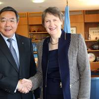 UNDP Administrator Helen Clark with IMO Secretary-General Koji Sekimizu (Photo: IMO)
