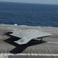 Unmanned X-47B on flight deck: Photo credit USN
