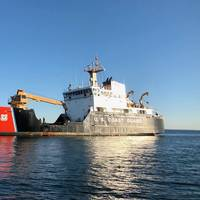 U.S. Coast Guard Cutter Oak (WLB-211) sits at anchor. The Newport, Rhode Island-based buoy tender maintains 144 Aids to Navigation (ATON) that guide mariners into some of the oldest and busiest ports in the U.S., including Boston, Massachusetts; Portsmouth, New Hampshire; and Portland, Maine. (U.S. Coast Guard photo by Emily E. Torsney)