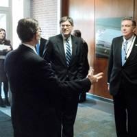 U.S. Treasury Secretary Jack Lew (L) and Senator Ben Cardin (R) take a tour of Ellicott's facilities in Baltimore (Photo courtesy of Ellicott Dredges)