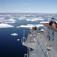 US warship in ice: Photo courtesy of USN