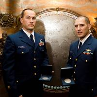 USCG aviation survival technicians Randy Haba and Daniel Todd were awarded for the rescue of 14 crew members aboard HMS Bounty during Hurricane Sandy.