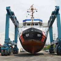 USCG Cutter Katmai Bay on the Marine Travelift at Great Lakes Shipyard (Photo: Great Lakes Shipyard)