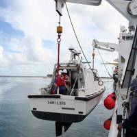 USNS Bowditch lowering inshore survey boat: Photo credit USN