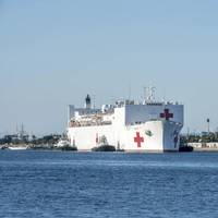 USNS Mercy (T-AH 19) arrives in Los Angeles March 27. (U.S. Navy photo by David Mora Jr.)