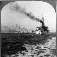 USS Connecticut (BB-18), leading the Atlantic Fleet to Sea, circa December 1907, probably at the start of the cruise around the world. (Photo: The Navy Department Library)