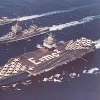 USS Enterprise (CVAN 65) (bottom), USS Long Beach (CGN 9) (center) and USS Bainbridge (DLGN 25) (top) in 1964 (U.S. Navy photo)