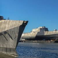 USS Gabrielle Giffords (LCS 10) and USS Omaha (LCS 12) at Austal USA (Photo: Austal)